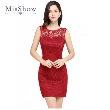 2018 New Navy Blue Red Cocktail Dresses Cheap Short Party Sleeveless Prom Dress Women Slim Lace Cocktail Dress Vestido de Festa