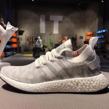 LMFUX5 Adidas NMD R2 Primeknit Grey 1 Boost Sport Running Shoes Classic Casual Shoes Sneakers