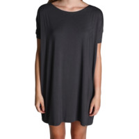 Dark Grey Piko Tunic Short Sleeve Dress
