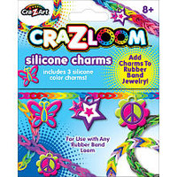 The Cra-Z-Art Shimmer 'N Sparkle Cra-Z-Loom 3 Clip On Charms - Hearts, Key, Star Silver Charms