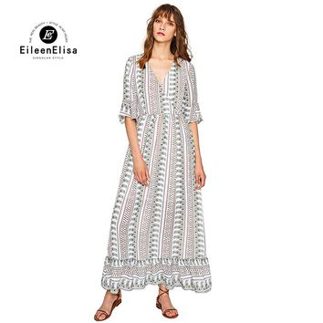 Runway Maxi Long Dress 2017 High Quality Bohemian Dress With Sexy V Neck Long Maix Dress Women