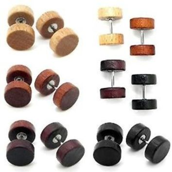 fake wood plug cheater gauge ear body jewelry PAIR 2 piercing tapers