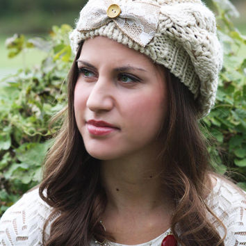 Beanie Hat- Light Tan, Ivory, Large Bow, Wood Button, Cable Knit, Knitted, Crochet, ivory lace, Christmas Gift.