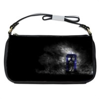 Doctor Who And Tardis In Night Storm Handbag Shoulder Bag Black Leather