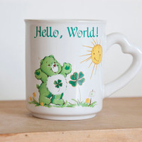 Vintage Care Bears Coffee Mug, Hello World Good Luck Bear Tea Cup, Heart Handle
