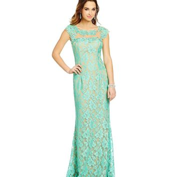 Jodi Kristopher Cap-Sleeve Applique Lace Long Sheath Dress | Dillards