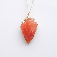 Orange Jasper Arrowhead Necklace - OOAK Jewelry