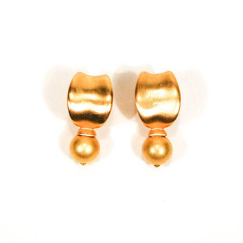 Anne Klein Couture, Gold Earrings, Satin, Brushed, Finish, Door Knocker, Pierced, Designer Jewelry