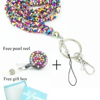 Crystal Mini seed Beaded Necklace LANYARD Keychain with Clasp for Key / ID / Cell Phone Holder (13 Colors for choice) (Rainbow)