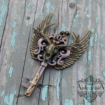 Deer winged steampunk key necklake,statement pendant,zircon jewelry,Skeleton key,Fantasy pendant,Winged pendant,gift OOAK,Thranduil jewelry