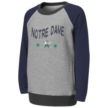 Notre Dame Fighting Irish Girls Youth Aurora Fleece Tunic Sweatshirt – Gray - http://www.shareasale.com/m-pr.cfm?merchantID=7124&userID=1042934&productID=555874419 / Notre Dame Fighting Irish