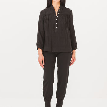 Horses Atelier Black Peasant Top