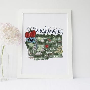 Washington State Map Art Print
