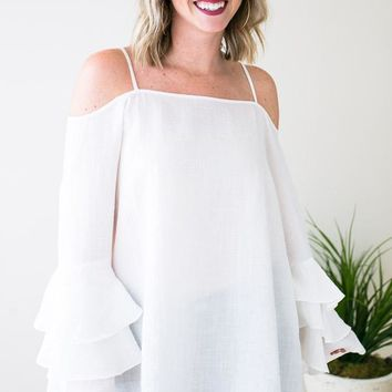 Unforgettable Tiered Ruffle Sleeve Tunic - Ivory