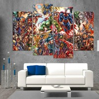 Abstract Marvel Comics Superheros 4 Piece Wall Art Canvas Superman Hulk