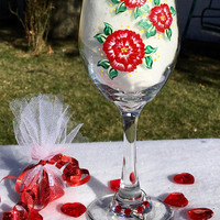 Wine Glasses With Three Red Roses and A Heart Charm and Chocolate, Valentines Day Gift, Birthday Gift, Gifts For Her, Mothers Day Gift