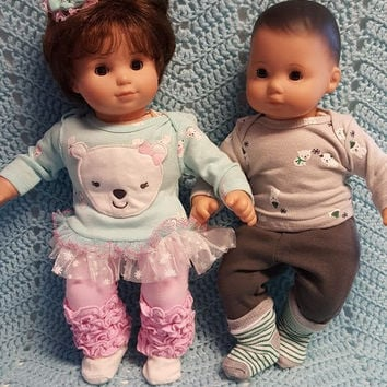 "Baby Doll Clothes Will fit Bitty Baby® ""Polar Bear Pals"" (15 inch) Boy and Girl Twins Set doll outfits A2"