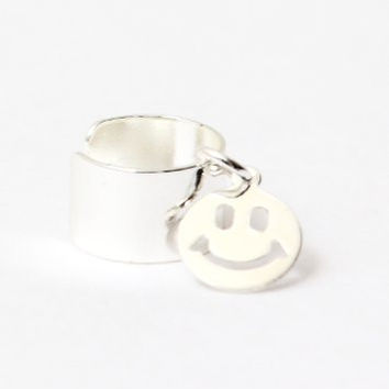Tiny Smiley Face Ear Cuff Wrap Dangling Silver Tone Earring CB08 Fashion Jewelry