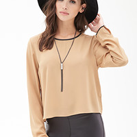 Faux Leather-Trimmed Chiffon Blouse