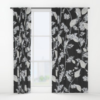 white leaf pattern Window Curtains by Color and Color