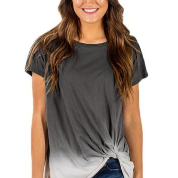 Knotted Ombre Top in Gray