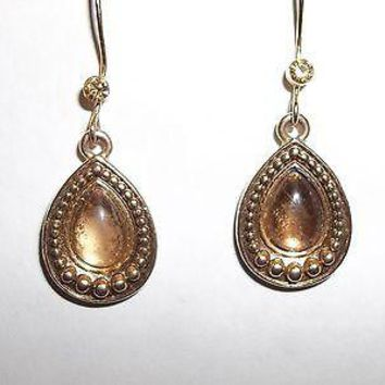 Vintage Signed Avon Teardrop Gold Tone Dangle Earrings