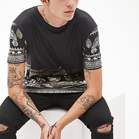 Metallic Paisley Printed Tee Black/Gold