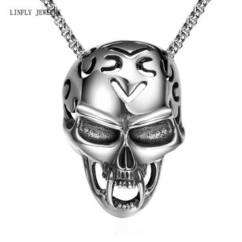 fashion Jewelry chain 316L stainless steel vintage Hot rock style Mayan skull pendant necklace for men