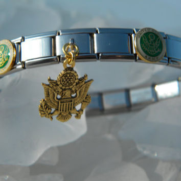 "US Army Italian Charm Bracelet -  ""Supporting the Army"" Stainless Steel Bracelet w/ US Army Seals and Dangle Charm"