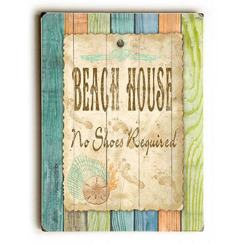 Beach House by Artist Jean Plout Wood Sign