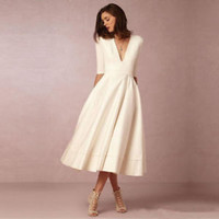 Ankle Length Vintage Ivory Wedding Dress with Half Sleeves Custom Size 2 4 6 8