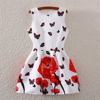 Butterfly & Rose Print Crew Neck Sleeveless Skater Dress