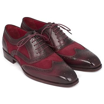Paul Parkman Suede & Calfskin Men's Wingtip Oxfords Bordeaux Shoes (ID#228BRDSD)