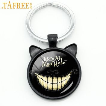 TAFREE We're Are All Mad Here Smiley Cat keychain case for Alice Adventures in Wonderland key chain ring holder jewelry CN702