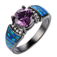 SNAZZY Amethyst Opal Black Metal Ring -- FREE Shipping