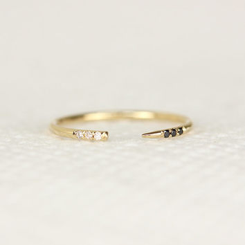 Diamond Open Ring In Pave Set,14k Solid Yellow Gold Diamond  Ring,Dainty Stacking Ring,Diamond Cuff Ring,14k Solid Midi Gold Ring