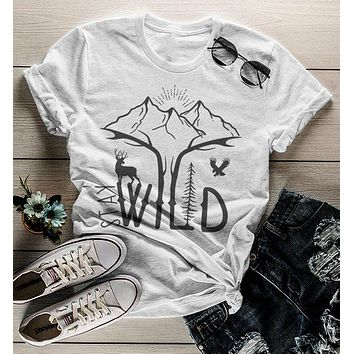 Women's Hipster Stay Wild Shirt Mountains T-Shirt Explore Antlers Graphic Tee Camping Vintage Wanderlust