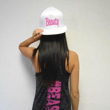 Beauty Hat. Women's Beauty Workout Snapback Hat. Flat Bill Girls Snapback Hat. Cross Training Hat. Gym Headwear. Strong Girl Hat. Beauty