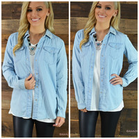 Country Roads Light Blue Denim Top
