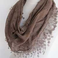 Light Brown Cotton Triangle Scarf, Gift, Christmas, Infinity Scarf, Headband, Cowl