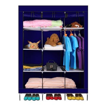 New 69 Inch Portable Closet Organizer Large Space Clothes Wardrobe Steel Tube Rack With Shelves Clothing Storage Closet