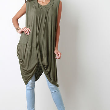 Twisted Cowl Sleeveless Cocoon Top