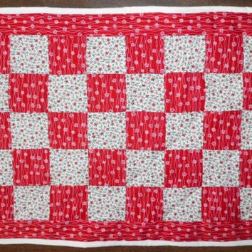 """Red and White Quilt for Dolls 23"""" x 18"""""""