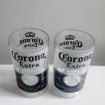 Handcrafted Repurposed Corona Classic Beer Bottle Drinking Glass Set