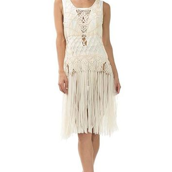 Crocheted and Fringed Cover Up