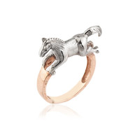 Rose & White Gold Plated Horse Ring | Merve Baal