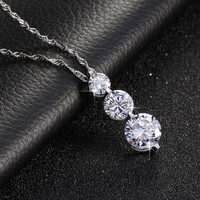 Luxury 3 Pcs Clear Round Cubic Zircon Pendant Chain Necklaces Sparkling Jewelry