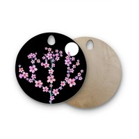"""Julia Grifol """"Cherry Blossom At Night"""" Pink Black Round Wooden Cutting Board"""
