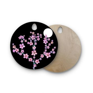 "Julia Grifol ""Cherry Blossom At Night"" Pink Black Round Wooden Cutting Board"