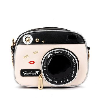 Creative Fashion Retro Camera Simulation Camera Shaped Shoulder Bag Lady Hand Bag Purse Satchel Tote Bag